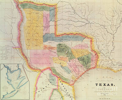 1835 Drawing - Map Of The State Of Texas, 1835  by David Burr