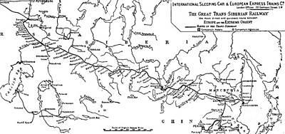 Vladivostok Drawing - Map Of The Trans-siberian Railway by English School