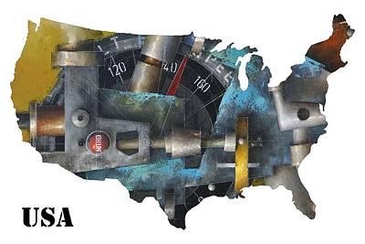 Digital Art - Map Of The United States - 15.017 - Nitro by Ken Berman
