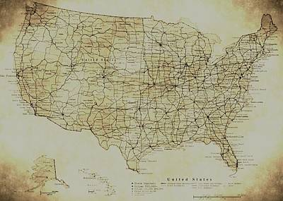Map Of The United States In Digital Vintage Art Print