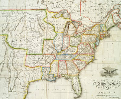 Music Map Drawing - Map Of The Usa 2  by Roy Pedersen