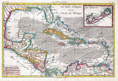 Old Map Painting - Map Of The West Indies Caribbean And Gulf by Celestial Images