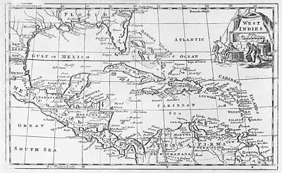 Map Of The West Indies Florida And South America Art Print by English School