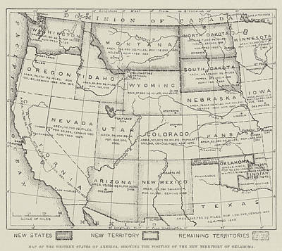 Map Of The Western States Of America Print by English School