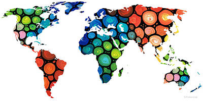 America The Continent Painting - Map Of The World 1 -colorful Abstract Art by Sharon Cummings