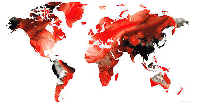 America The Continent Painting - Map Of The World 10 -colorful Abstract Art by Sharon Cummings