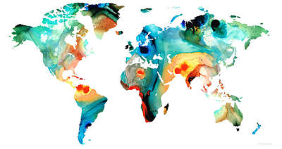 America The Continent Painting - Map Of The World 11 -colorful Abstract Art by Sharon Cummings