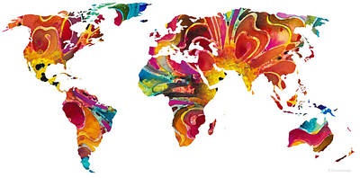 America The Continent Painting - Map Of The World 2 -colorful Abstract Art by Sharon Cummings
