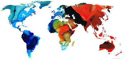 America The Continent Painting - Map Of The World 3 -colorful Abstract Art by Sharon Cummings