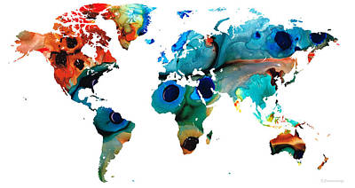 America The Continent Painting - Map Of The World 6 -colorful Abstract Art by Sharon Cummings