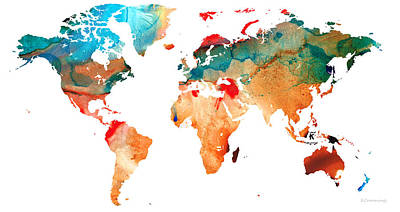 America The Continent Painting - Map Of The World 7 -colorful Abstract Art by Sharon Cummings