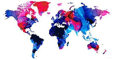 America The Continent Painting - Map Of The World 9 -colorful Abstract Art by Sharon Cummings