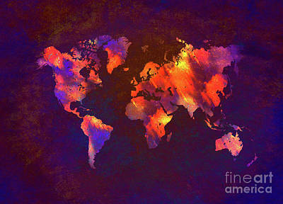 World Map Digital Art - Map Of The World Art  by Justyna JBJart