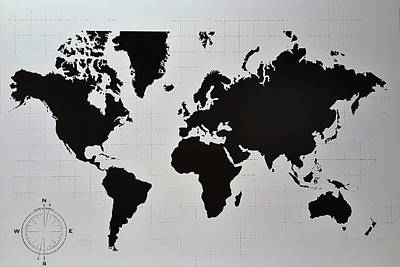 Photograph - Map Of The World B W by Rob Hans