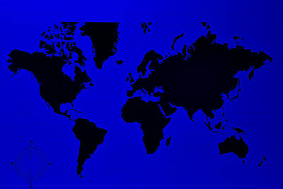 Art Print featuring the photograph Map Of The World Blue by Rob Hans