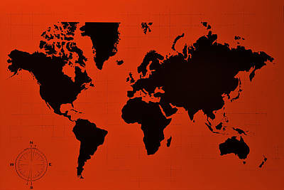 Photograph - Map Of The World Copper by Rob Hans