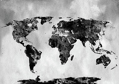 World Map Poster Photograph - Map Of The World-black by Erzebet S