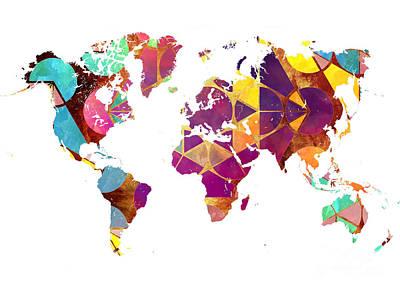 Map Of The World Geometric Colored Art Print by Justyna JBJart