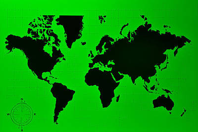 Photograph - Map Of The World Green by Rob Hans