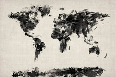 Panoramic Digital Art - Map Of The World Map Abstract by Michael Tompsett