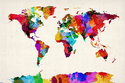 Urban Watercolor Digital Art - Map Of The World Map Abstract Painting by Michael Tompsett