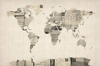 World Map Poster Digital Art - Map Of The World Map From Old Postcards by Michael Tompsett