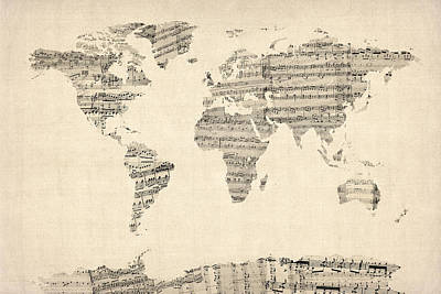 Poster Digital Art - Map Of The World Map From Old Sheet Music by Michael Tompsett