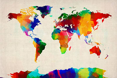 Global Digital Art - Map Of The World Map by Michael Tompsett