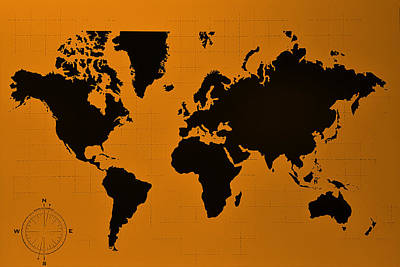 Photograph - Map Of The World Orange by Rob Hans