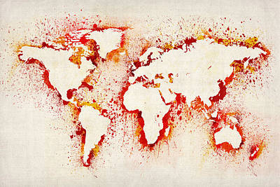 Map Of The World Paint Splashes Art Print by Michael Tompsett