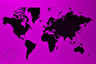 Art Print featuring the photograph Map Of The World Purple by Rob Hans