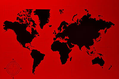 Photograph - Map Of The World Red by Rob Hans