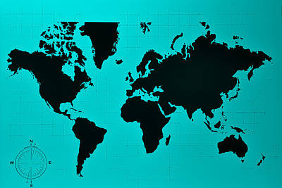 Photograph - Map Of The World Turquoise by Rob Hans