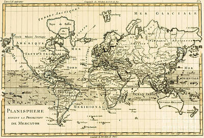 Drawing - Map Of The World Using The Mercator Projection by Guillaume Raynal