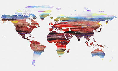 Painting - Map Of The World Watercolor by Irina Sztukowski