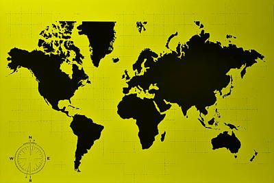Photograph - Map Of The World Yellow by Rob Hans