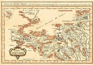 Map Of Tibet 1749 Art Print