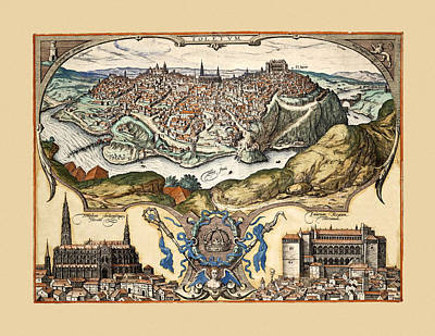 Photograph - Map Of Toledo 1566 by Andrew Fare