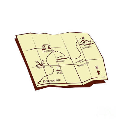 Map Of Trail With X Marks The Spot Woodcut Art Print