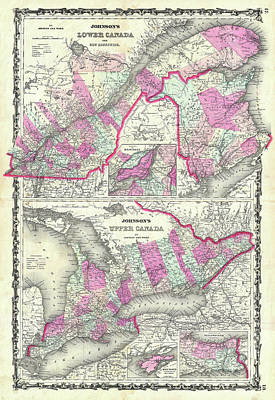 Drawing - Map Of Upper And Lower Canada 1862 by Mountain Dreams