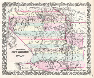 Drawing - Map Of Utah And New Mexico by Joseph Hutchins Colton