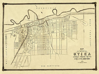 Photograph - Map Of Utica 1874 by Andrew Fare