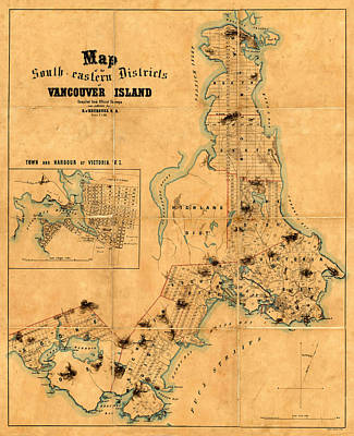 Photograph - Map Of Vancouver Island 1860 by Andrew Fare
