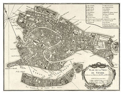 Cartography Painting - Map Of Venice - 1764 by Pablo Romero