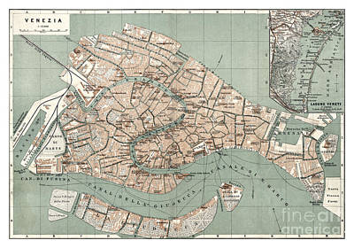 Old Map Painting - Map Of Venice - 1886 by Pablo Romero