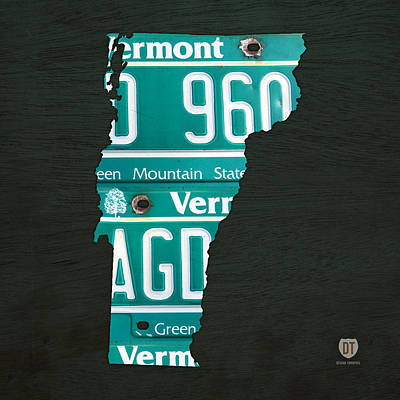 Vermont Map Mixed Media - Map Of Vermont Recycled Vintage License Plate Art by Design Turnpike