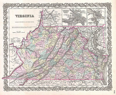 Drawing - Map Of Virginia by Joseph Hutchins Colton