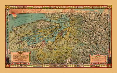 Photograph - Map Of Washington 1930 by Andrew Fare