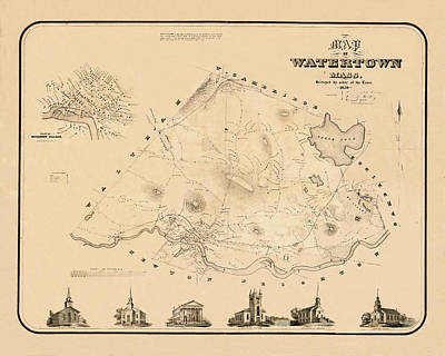 Photograph - Map Of Watertown 1850 by Andrew Fare
