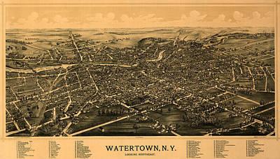 Map Of Watertown 1891 Art Print